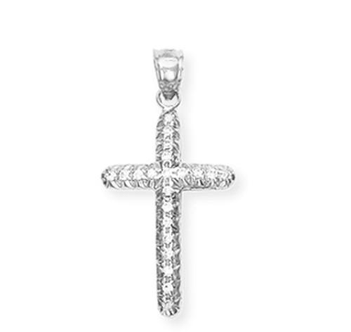 White Gold Diamond Cross Pendant 2