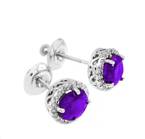 White Gold Diamond Amethyst Earrings