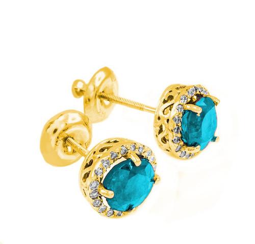Gold Diamond Aquamarine Earrings