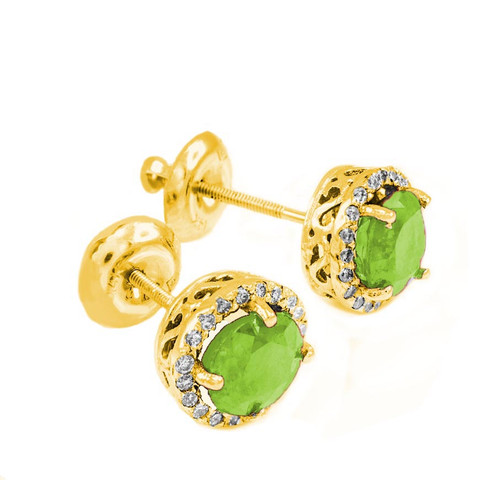 Gold Diamond Peridot Earrings