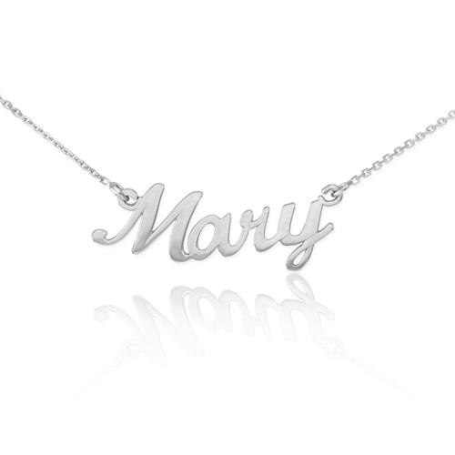 """Sterling Silver Name Script Necklace """"Mary"""""""