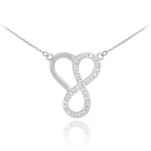 Sterling Silver Infinity Heart Necklace with CZ