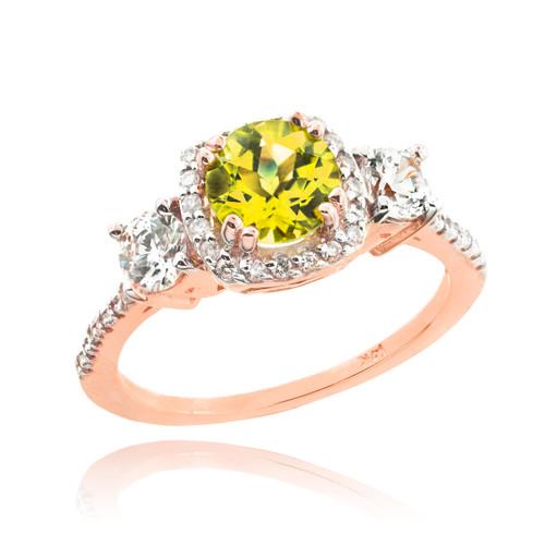 Rose Gold Citrine Diamond Engagement Ring