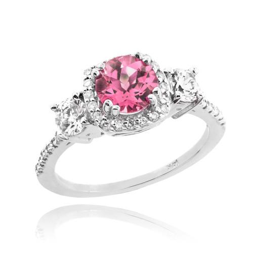 White Gold Pink Zirconia Diamond Engagement Ring