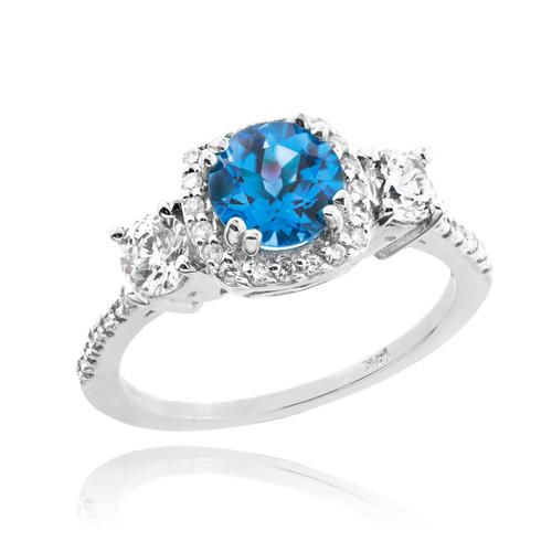 White Gold Topaz Diamond Engagement Ring