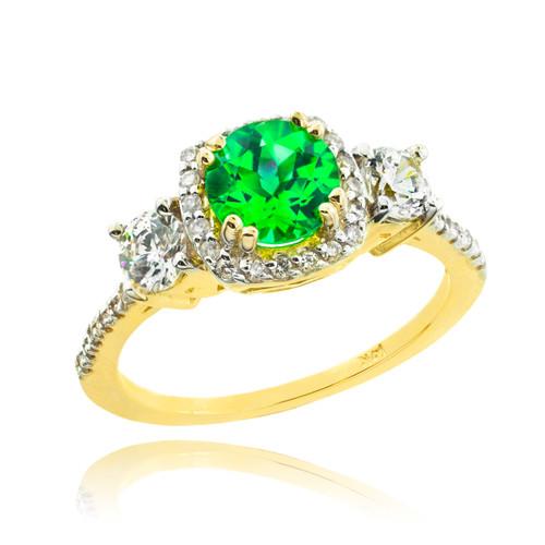 Gold Emerald Diamond Engagement Ring