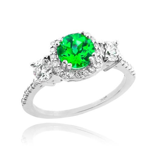 White Gold Emerald Diamond Engagement Ring