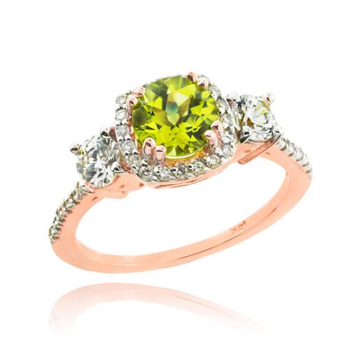 Rose Gold Peridot Diamond Engagement Ring