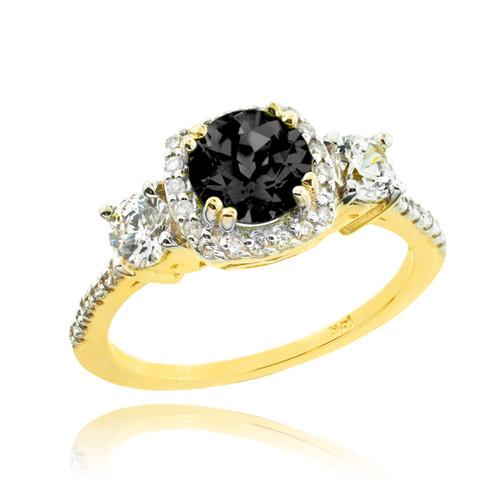 Gold Black Diamond Engagement Ring