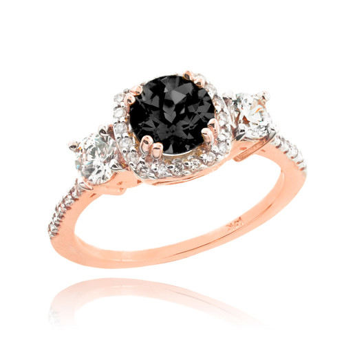 Rose Gold Black Diamond Engagement Ring