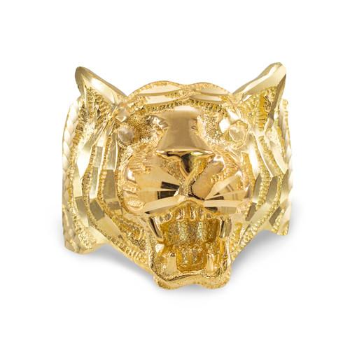 Gold Diamond Cut Tiger Ring