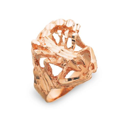 Rose Gold Scorpion Diamond Cut Ring