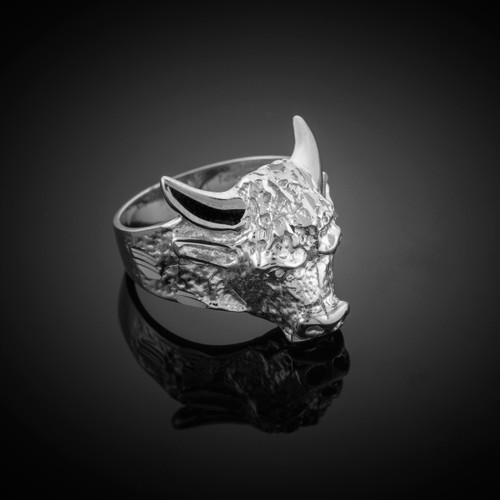 Sterling Silver Bull Taurus Ring (Large)