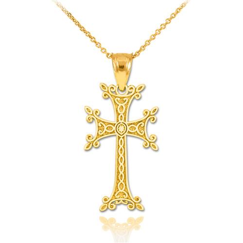 Gold Armenian Cross Pendant Necklace