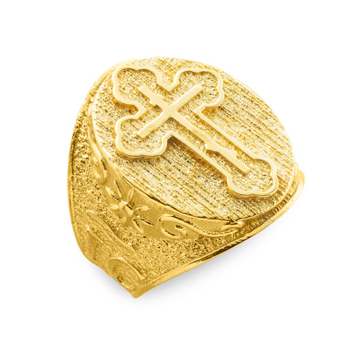 Men's Solid Gold Eastern Orthodox Cross Ring