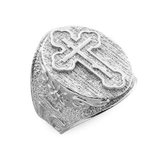 Men's Solid White Gold Eastern Orthodox Cross Ring