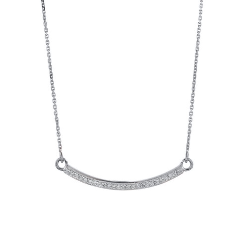14k White Gold Curved Bar Necklace with Diamonds