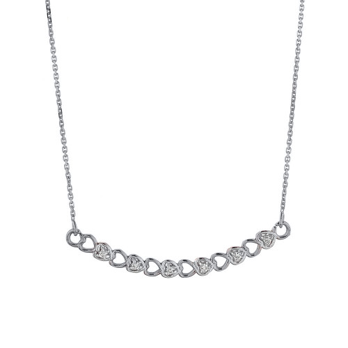 14k White Gold Curved Diamond Hearts Necklace