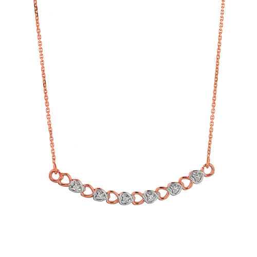 14k Rose Gold Curved Diamond Hearts Necklace