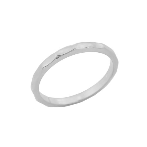 White Gold Hammered Baby Ring