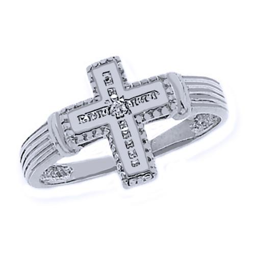 White Gold Rhodium Diamond Cross Ring