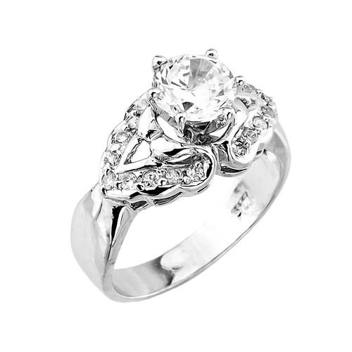 Elegant Sterling Silver CZ Engagement Ring