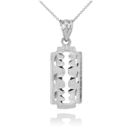 Sterling Silver Razor Blade Pendant Necklace