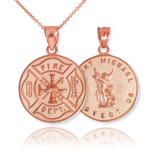 Rose Gold Firefighter Badge Reversible St. Michael Pendant Necklace