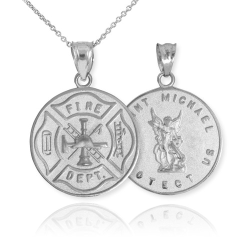 Sterling Silver Firefighter Badge Reversible St. Michael Pendant Necklace
