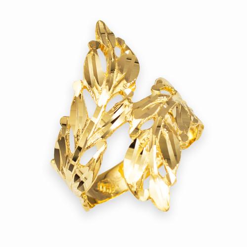 Gold Diamond Cut Laurel Wreath Leaf Ring