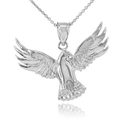 White Gold Falcon Pendant Necklace