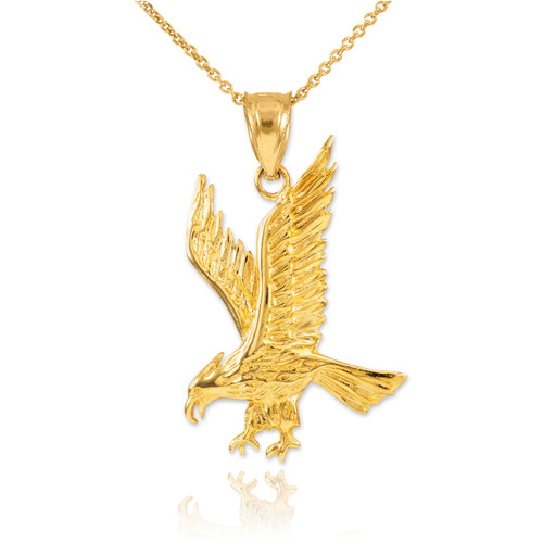 Solid Gold Eagle Pendant Necklace