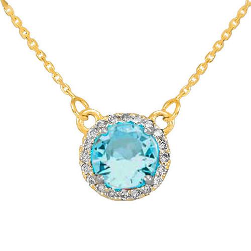14k Gold Diamond Aquamarine Necklace