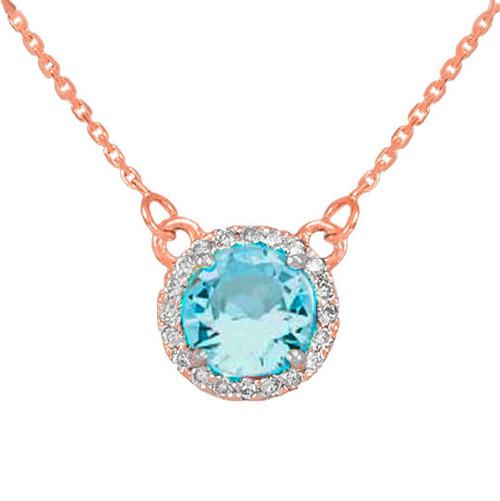 14k Rose Gold Diamond Aquamarine Necklace