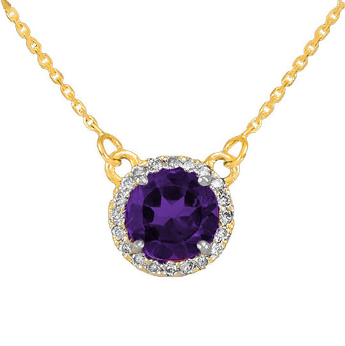 14k Gold Diamond Amethyst Necklace