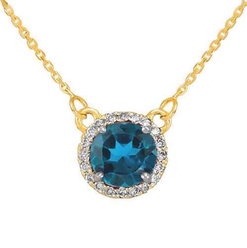 14k Gold Diamond Blue Topaz Necklace