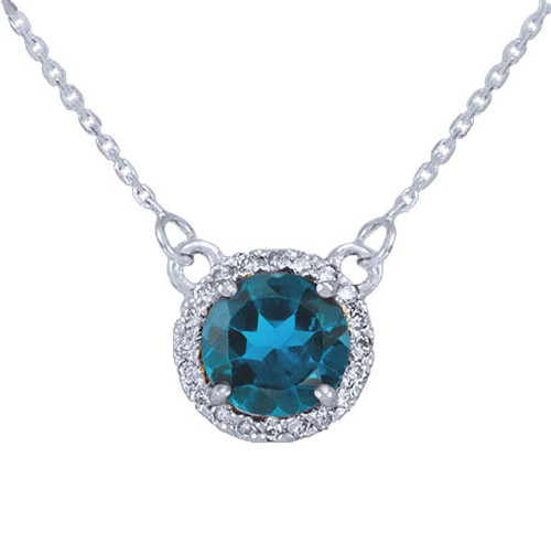 14k White Gold Diamond Blue Topaz Necklace