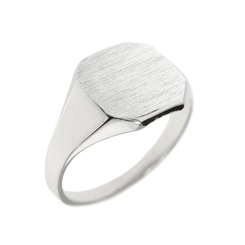 Solid White Gold Cut Corners Engravable Men's Signet Ring