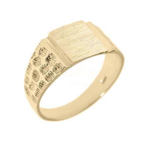 Yellow Gold Engravable Men's Signet Ring