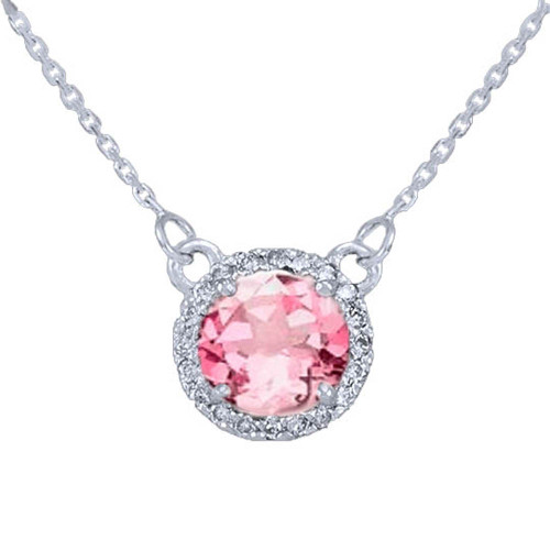 14k White Gold Diamond Pink Tourmaline Necklace