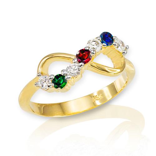 Gold Triple Birthstone Infinity CZ Ring