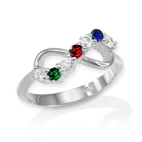 White Gold Triple Birthstone Infinity CZ Ring