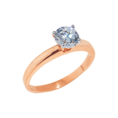 Rose Gold Round Cut CZ Engagement Ring