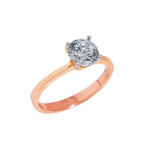 Solid Rose Gold Round Cut CZ Engagement Ring