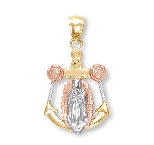 Tri Color Gold Anchor with Guadalupe Pendant3