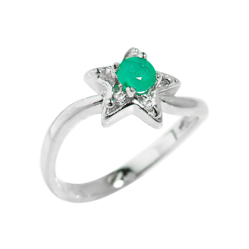 Sterling Silver Round Shaped Emerald Gemstone Ladies Ring