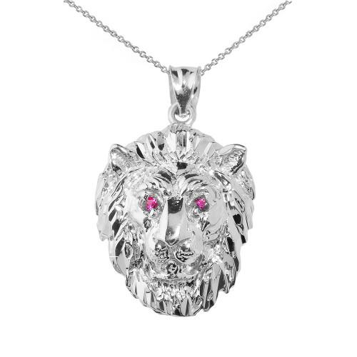 Solid White Gold Diamond Cut Lion Head Pendant Necklace