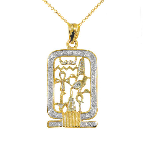 Yellow Gold Open Style Cartouche Pendant