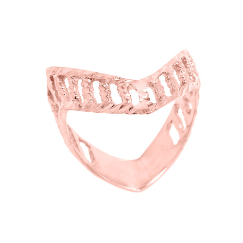 Solid Rose Gold Diamond-Cut Open Work Thumb Ring