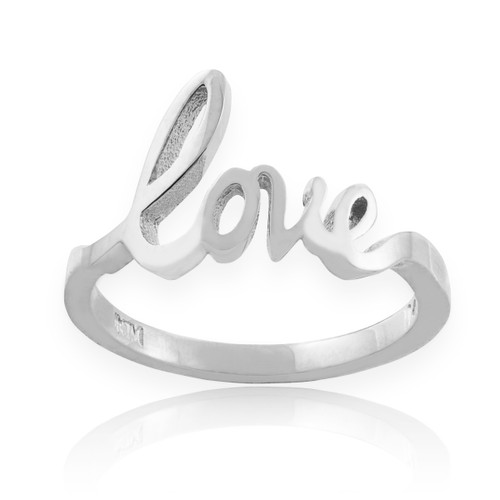 """Solid White Gold """"Love"""" Script Ring"""